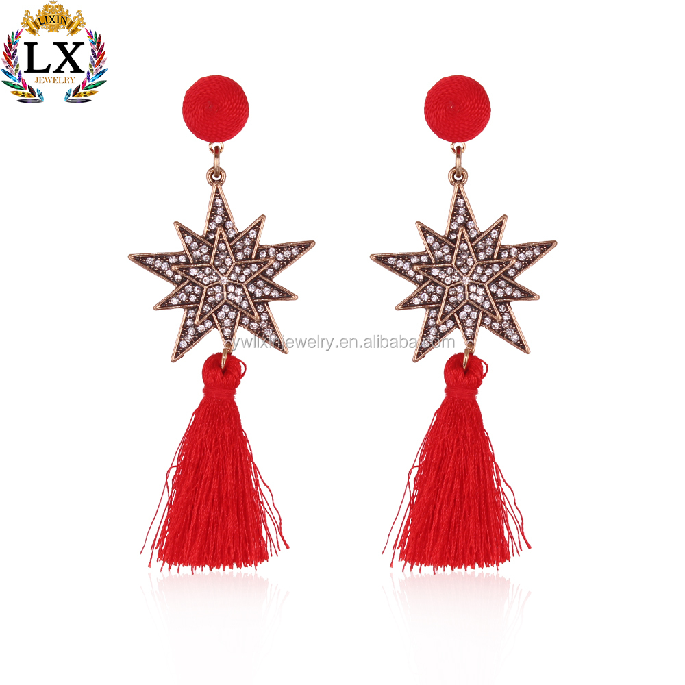 ELX-00774 carved diamond artificial silk threads long tassel polygon star drop earrings