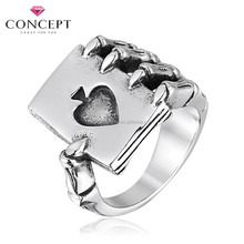 Alibaba 2015 Hotselling Stainless Steel Men Power Evil Hand with Poker Fashion Rings