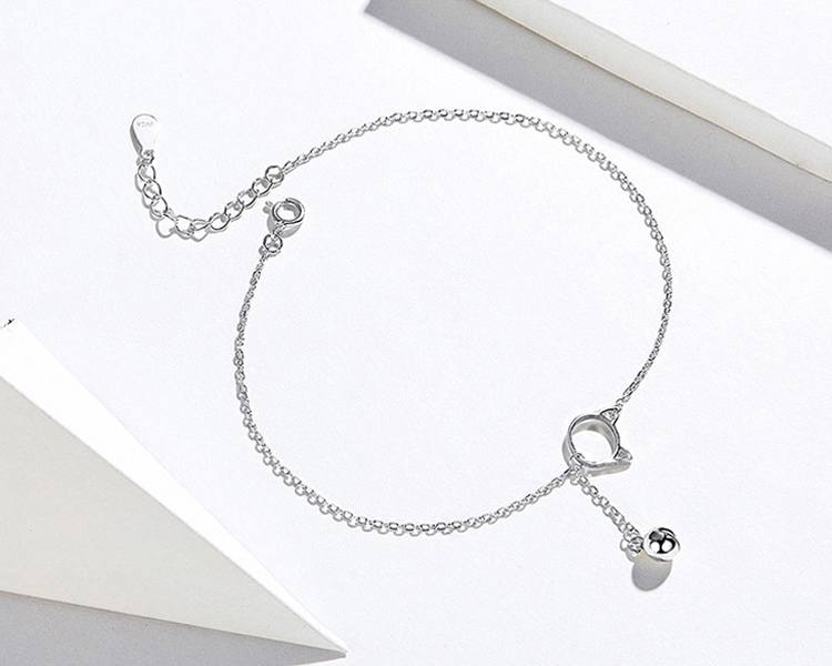 OB Jewelry-Foot Jewelry Anklet Simple Bell And Cat Bracelet for Ankle Real Solid 925 Sterling Silver Anklets For Women