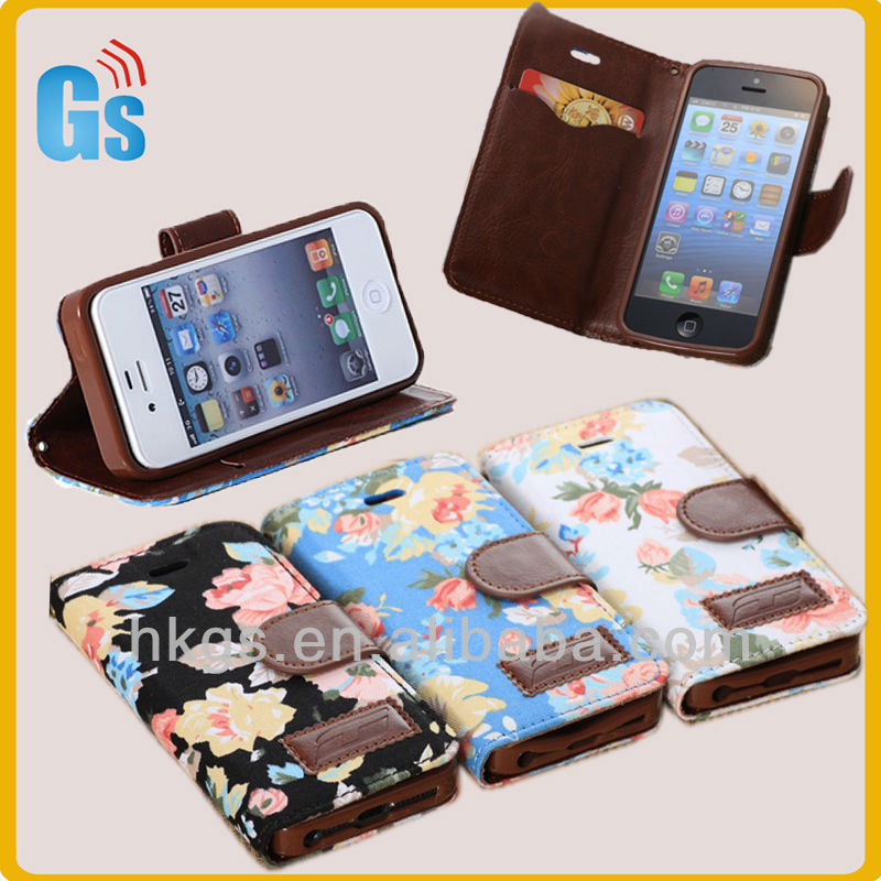Hot selling wallet case for iphone 5 with 3d image jean flower