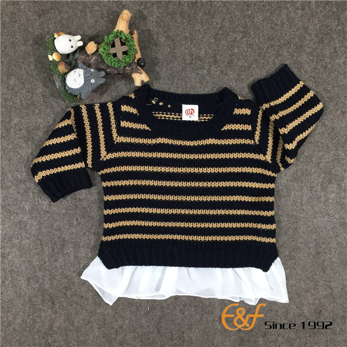 Long Sleeve Stripe Pattern Design Cashmere Baby Sweater