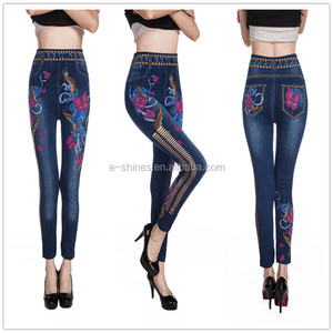 Wholesale seamless custom jeans denim printed leggings for women