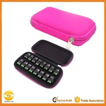 Custom Pink soft 16 bottles essential oil carrying case,high quality small essential oil travel carry case bag