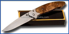 Blonde Burl Wood Handle Linerlock Pocket Knife Bead Blast silver Matte Finish Blade model 141
