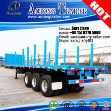 Customized 3 axles flatbed type log/stock/wood carrier semi trailer with high stakes