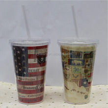 Double Walled Plastic Promotion Cup with Advertising Paper Insert.