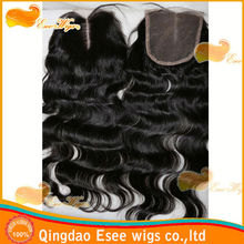 Esee wigs 100 human hair lace closure virgin cambodian hair Middle Part line( 4x4) 1b Color body wave closure density120%