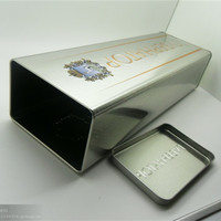big rectangle wine tin can / direct factory OEM metal box / wine bottle protect tin box