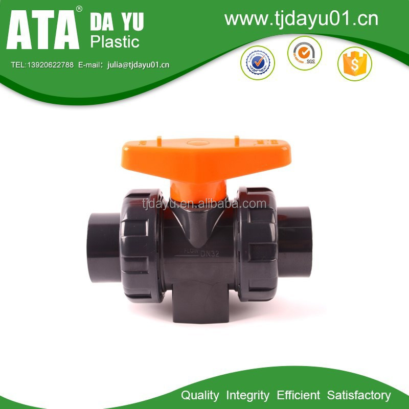 Double Union Ball Valve UPVC, Handle, Socket Cement