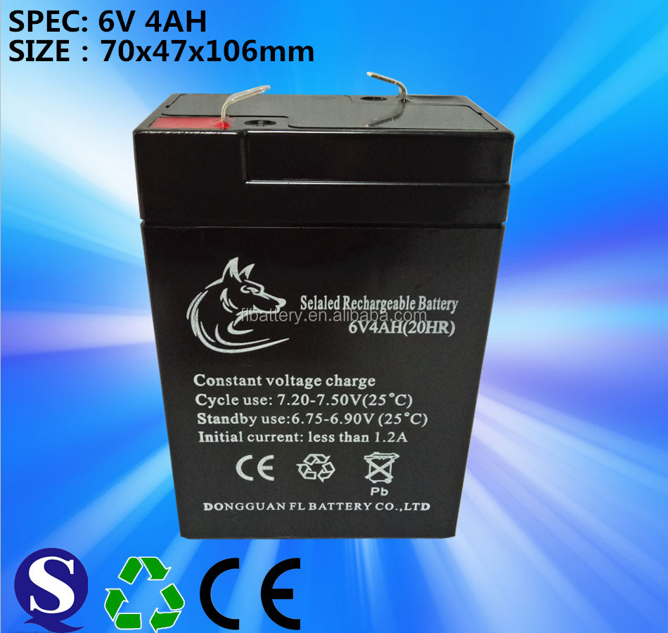 China supplier sealed Lead-acid deep cycle batteries 6V4AH