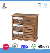 brown wooden cabinet with rattan basket kitchen storage