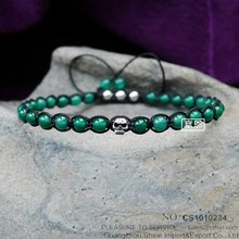 Mens Jewelry 4mm Green Round bead bracelets with Skull Head