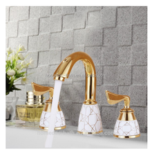 Luxury two Handles Widepsread Shape Spout Basin Mixer Tap Watermark 3pcs Sink Faucet Gold Faucet