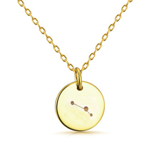 Gold engraving disc jewelry 12 horoscope zodiac sign astrological pendant necklaces