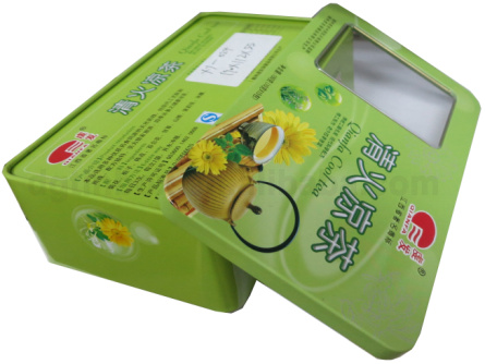 Rectangle Tea bag Tin Box with Transparent PVC