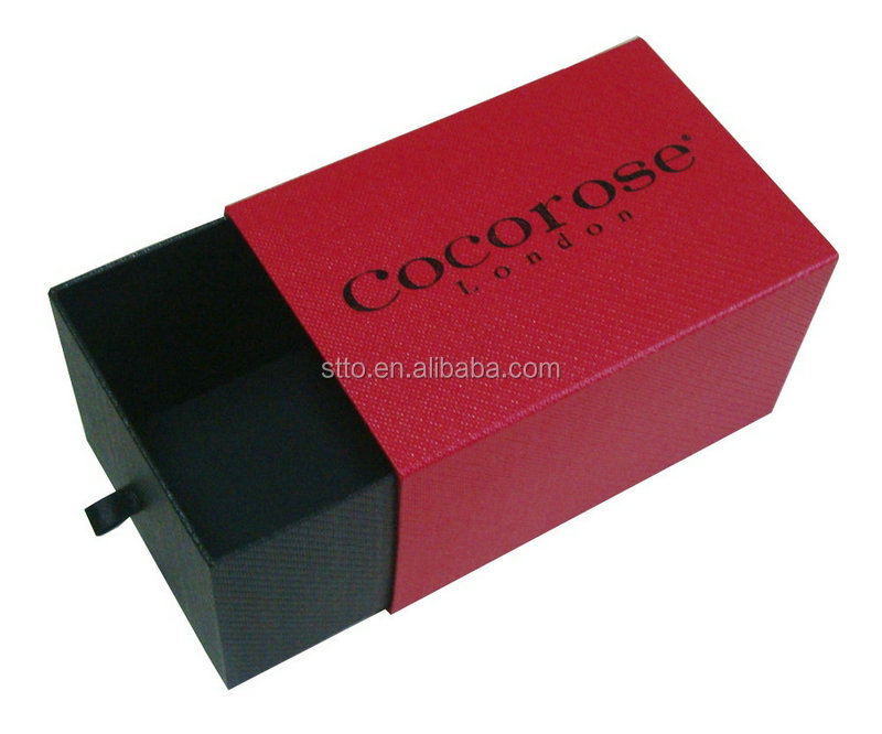 Hot Sale Tube Drawer Red Texture Paper Gift Packaging Box with COCOROSE london Logo in black