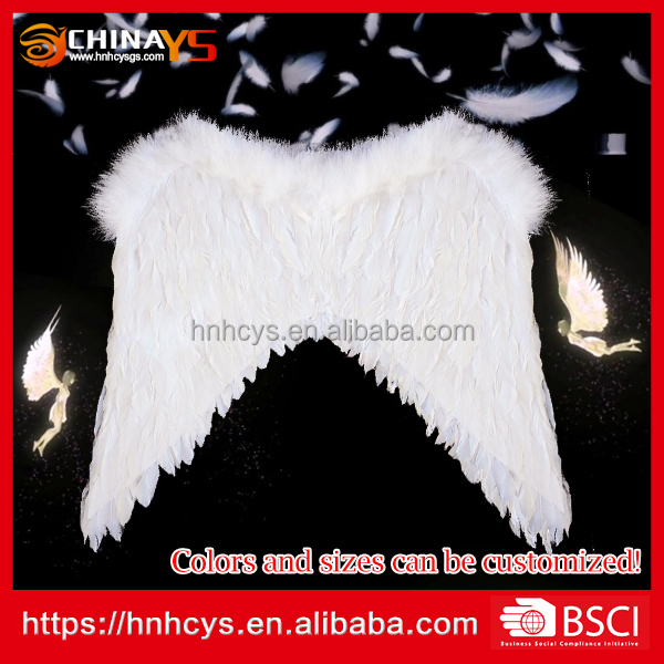 Soft White handmade low price YS 8060 feather angel wings 65*60cm party decoration