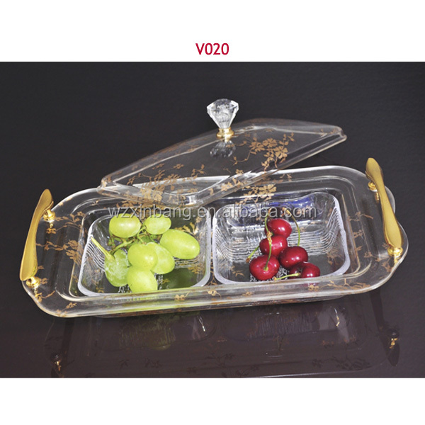 home-use decoration two-compartment dish plastic acrylic candy tray with lid and metal handle