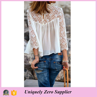 2016 New Design Sexy Women Chiffon Blouse with Lace hem Sleeves