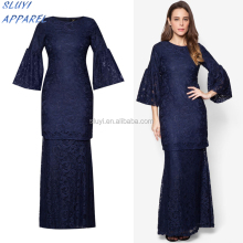 Guangzhou clothing OEM rounded neckline navy blue long sleeve Ethnic dress long sleeve evening dress Arabic Modern Lace dresses