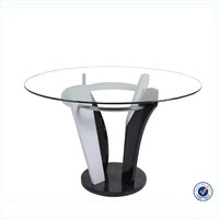 cheap modern glass top marble base dining table