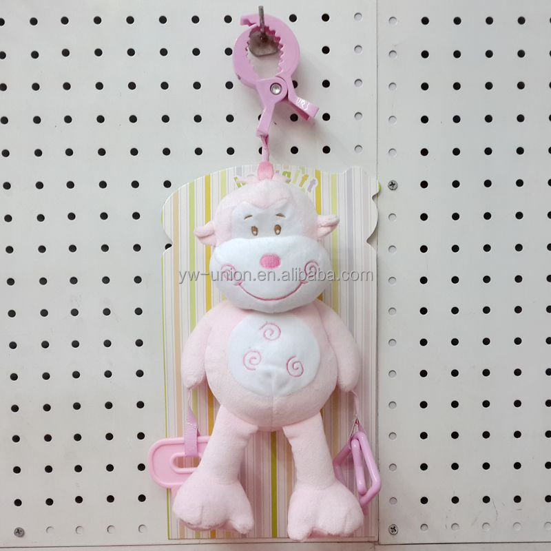 Pink monkey with teether baby hanging toy