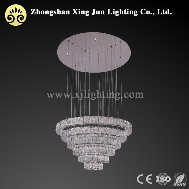 Marketing plan 4 rings pendant hanging lamp 80W crystal chandelier