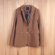 Formal Brown Latest Slim Fit Long Sleeves Sex Women Blazer Apparel Stock Lot
