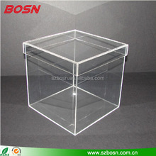 Glass effect clear acrylic packaging box display lucite acrylic cube with lid