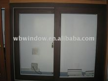 wooden color PVC sliding window, 2 track pvc sliding window