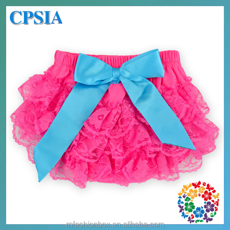 2015 Toddler Boutique Hot Pink Lace Ruffle Diaper Covers Bloomers For Kids