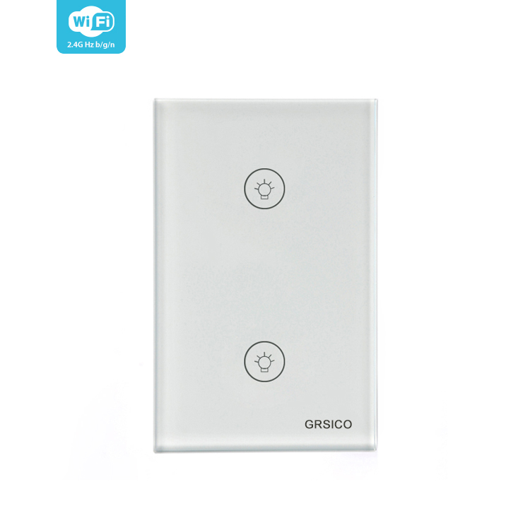 GRSICO IOT Intelligent Wifi Remote Control 2gang Smart Touch Light Switch Support alexa and Google home
