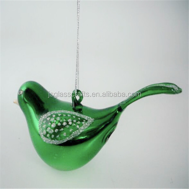 hand blown hanging glass bird for decoration