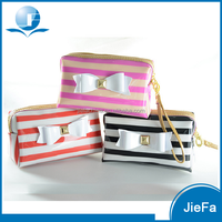 New korea cute design PVC stripe bowknot gift large capacity storage wash bags