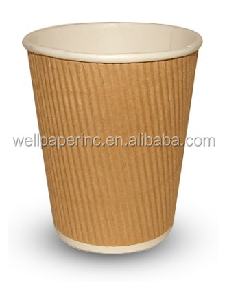 50 Pack Premium Hot Paper Cups with Lids Ripple Insulated No Sleeves Needed Green