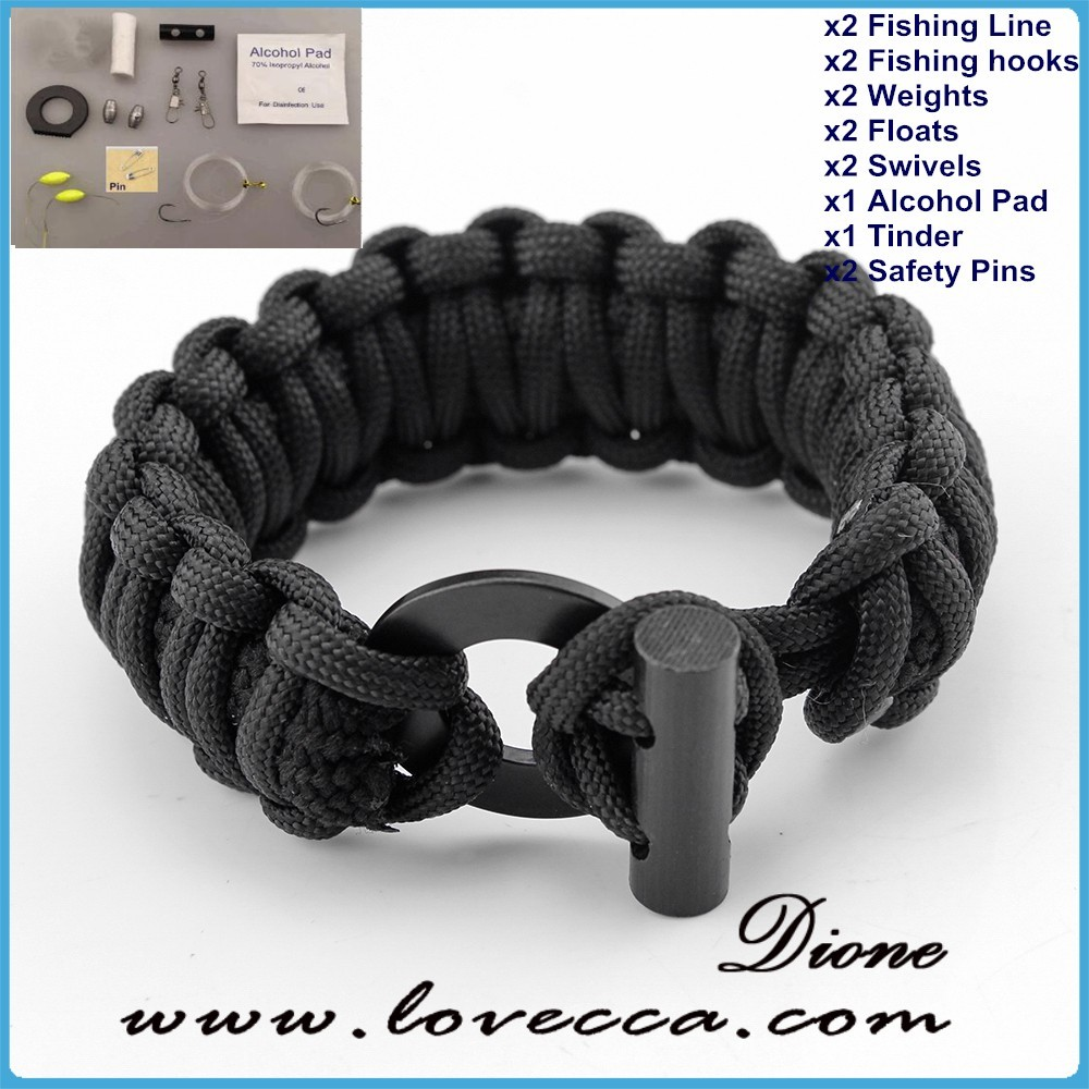 Military tactical survival fishing tools included emergency paracord survival bracelet kit