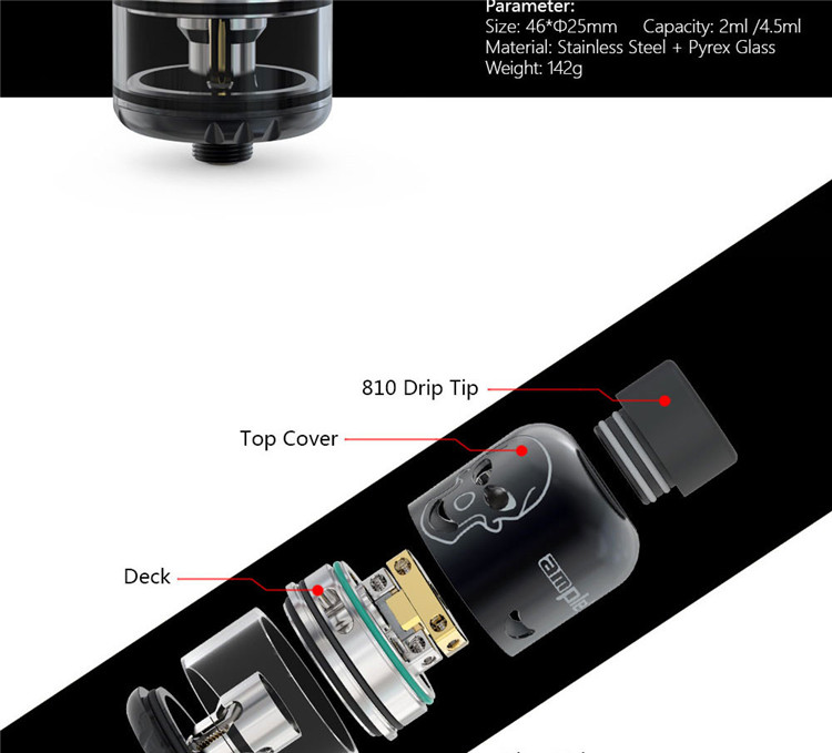 Dual Mode Airflow RDTA offer the best flavor Ample Skelly Tank Atomizer