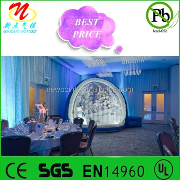2014 hot sale, inflatable Christmas snow globe for birthday/office parties