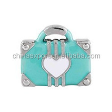 2015 New Green Retro Suitcase Floating Charms Wholesale for Spring Products