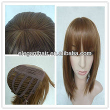 injected knots PU wig middle parting synthetic hair machine wig