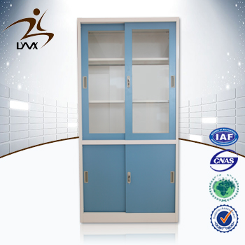 China manufactures 4 sliding door cheap metal storage cabinet / library cupboard