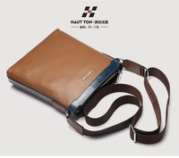Waterproof trendy genuine cow leather shoulder bag for men