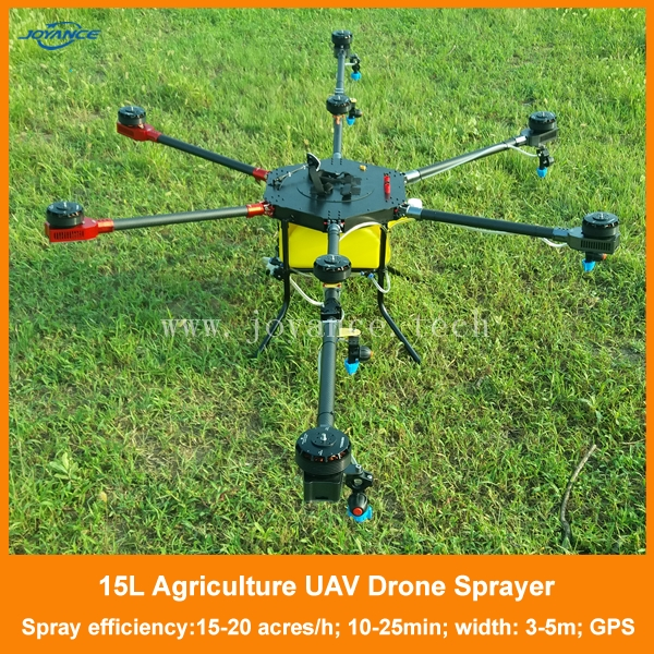 Autopilot long range remote controlled agricultural sprayer drone, unmanned helicopter sprayer, 15L uav drone crop duster