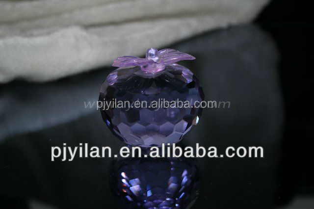 fashion elegent purple faceted crystal apple figurine