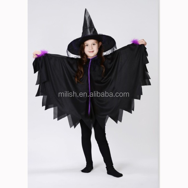Party carnival cheap kids girl black crow witch dress costume MAC-67