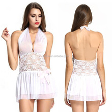 Women's Sleep & Lounge Sexy Nightgowns & Sleepshirts White Lace Hanging Neck Sexy Nightwear Mini Dress