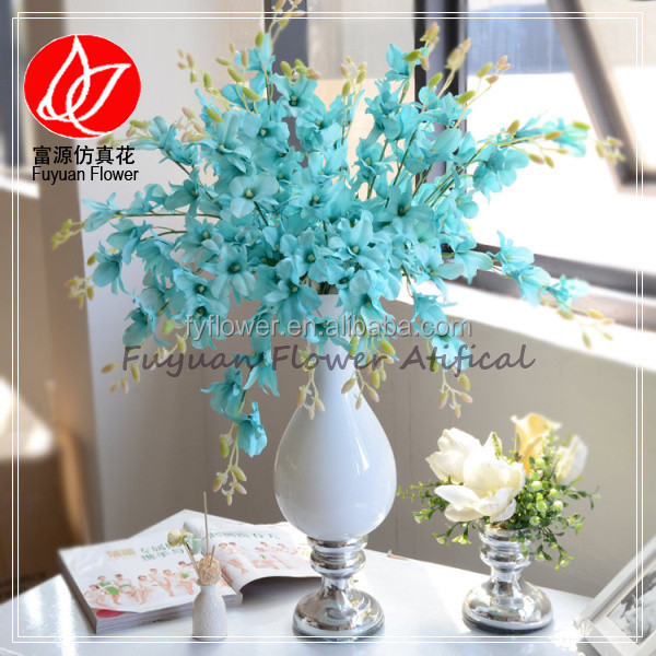 140910 factory wholesale cheap price tiffany blue fabric single stem baby orchid for DIY home decor artificial orchid Bonsai