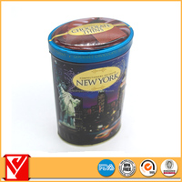 Fancy printing ellipse shape chocolate candy metal tin can