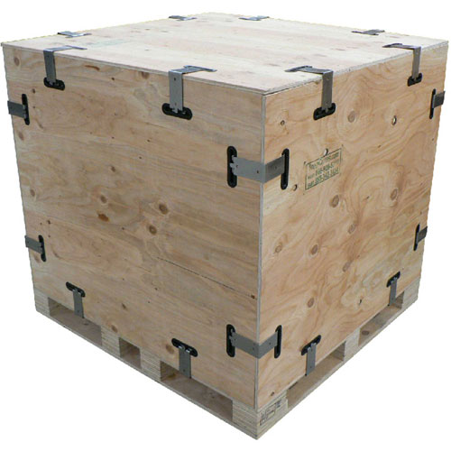 Reusable collapsible wooden snap crate