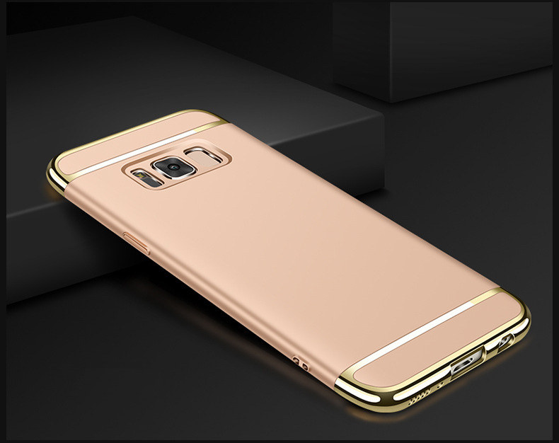 3 In 1 Luxury Electoplating Frame Matte PC Hard Phone Case For Samsung Galaxy S8